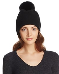 Helene Berman Wool Slouch Beanie With Fox Fur Pom Pom Black
