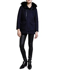 The Kooples Cotton Twill Parka With Fur Lined Hood Navy