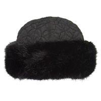 Chesca Fur Trim Quilted Hat Black