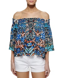 Cynthia Vincent Off The Shoulder Smocked Top Batik Print