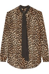 Kate Moss For Equipment Slim Signature Leopard Print Washed Silk Shirt Leopard Print Brown