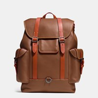 Coach Gotham Backpack In Glovetanned Leather Black Copper Dark Saddle