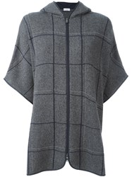 Brunello Cucinelli Knitted Zip Up Poncho Grey