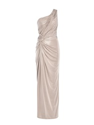 Anoushka G Alara Glitter One Shoulder Maxi Dress Metallic
