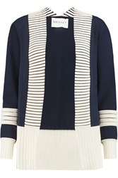 Vionnet Quilted Trimmed Stretch Knit Cardigan Blue