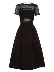 Self Portrait Fleur Lace Panel Dress Black White