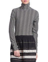 Plenty By Tracy Reese Striped Turtleneck Top Black White