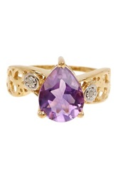 Olivia Leone 14K Gold Plated Sterling Silver Pear Cut Amethyst And White Topaz Ring Purple