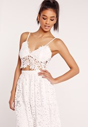 Missguided Crochet Lace Bust Cup Bralet White White