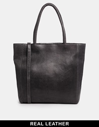 Urbancode Leather Grey Structured Shopper Bag Smokeygrey