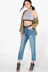 Boohoo Mom Jeans With Ripped Back Pocket Blue