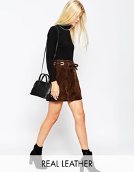Asos Suede A Line Skirt With Square Eyelets And Ties Waist Chocolate