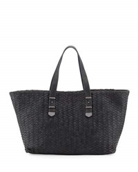 Neiman Marcus Distressed Woven Leather Tote Bag Dark Charc