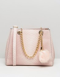 Aldo Minimal Shoulder Bag With Faux Fur Pom Blush Pink