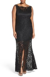 Marina Plus Size Women's Sleeveless Lace Column Gown Black