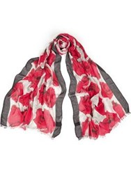 Paul Smith Ps By Rose Print Scarf Red