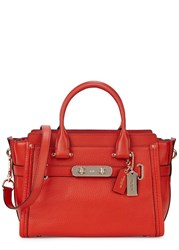 Coach Swagger 27 Medium Red Leather Tote Orange