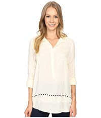 Dylan By True Grit Embroidered Tunic Chalk Women's Clothing White