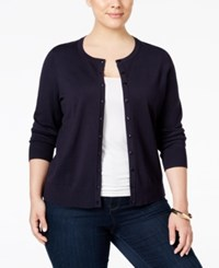 Charter Club Plus Size Long Sleeve Cardigan Only At Macy's Deepest Navy