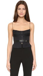 Narciso Rodriguez Seamed Linen Bustier Top Black