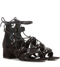 Saint Laurent Suede Lace Up Sandals Black