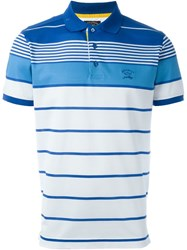 Paul And Shark Striped Contrast Panel Short Sleeve Polo Shirt Blue