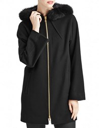 Sofia Cashmere Fox Fur Trimmed Wool Coat With Dolman Sleeves Black