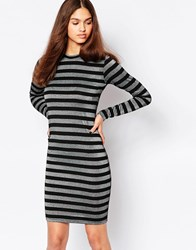Minimum Striped Long Sleeve Bodycon Dress 999 Black