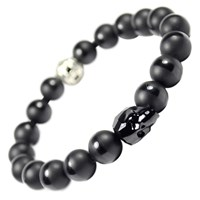 Tag Twenty Two Jet Black Swarovski Skull And Onyx Bracelet Multi