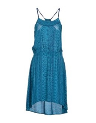 Timeout Knee Length Dresses Turquoise