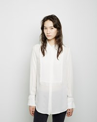 3.1 Phillip Lim Fringed Silk Tuxedo Shirt Antique White