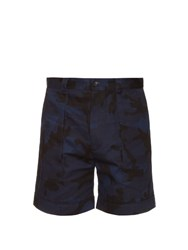 Valentino Camouflage Print Cotton Shorts Navy Multi