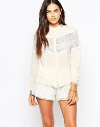 Goldie Make Amends Blouse With Lace Inserts Beige