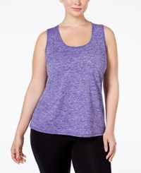Ideology Plus Size Essential Racerback Performance Tank Top Only At Macy's Blazing Purple Melange