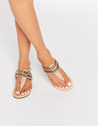 Oasis Multi Row Toepost Sandals Neutral Beige