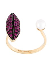 Delfina Delettrez 'Lips Piercing' Ruby Ring Pink And Purple