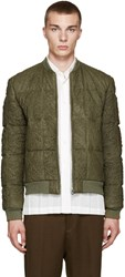 Loewe Green Lambskin Quilted Bomber Jacket