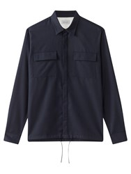 Jigsaw Cotton Fly Front Overshirt Navy