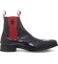 Jeffery West Novikov Punched Leather Chelsea Boots Blk Red
