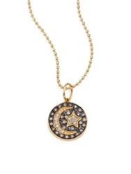 Sydney Evan Small Moon And Star Diamond And 14K Yellow Gold Medallion Necklace