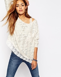 Abercrombie And Fitch Textured Knit Jumper With Lace Hem Cream