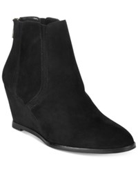 Alfani Women's Calistah Wedge Ankle Booties Only At Macy's Women's Shoes Black Suede