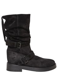 Ann Demeulemeester 30Mm Double Buckle Suede Pull On Boots