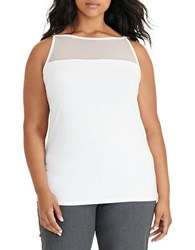 Lauren Ralph Lauren Plus Mesh Yoke Jersey Tank Top Cream