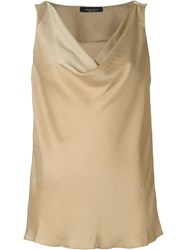 Roberto Collina Draped Sleeveless Top Nude And Neutrals