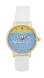 Kate Spade I Need A Vacation Metro Watch Gold White