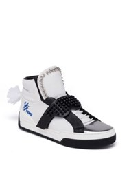 Fendi Karlito Studded High Top Calf Leather Sneakers White