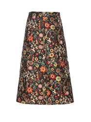 Red Valentino Fancy Flower Jacquard A Line Midi Skirt