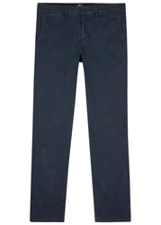 7 For All Mankind Luxe Performance Navy Cotton Blend Chinos