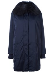 Twin Set Fur Collar Parka Blue